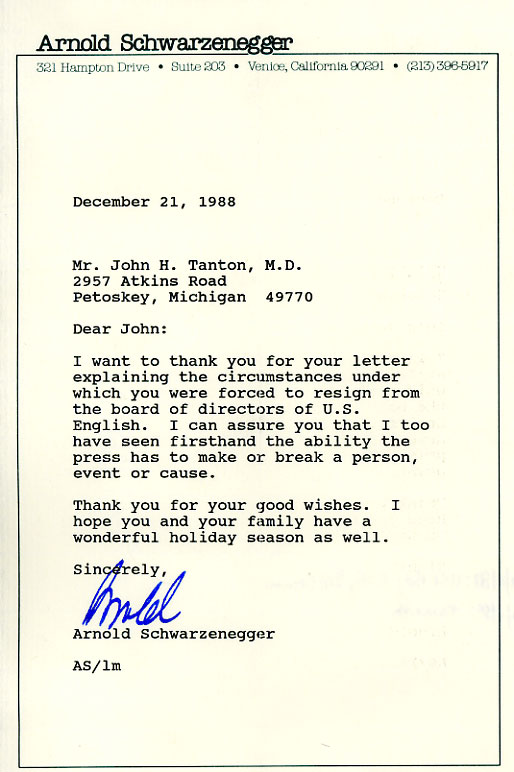 Nice Letters About Doctor John Tanton